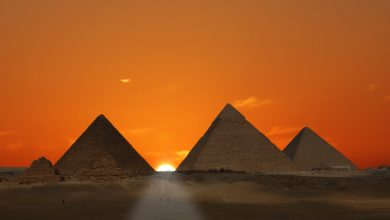 The Pyramids at Giza at sunset. Shutterstock.