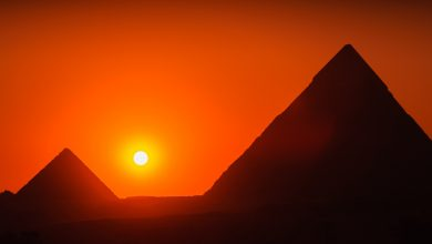 Pyramids and the sunset. Shutterstock.