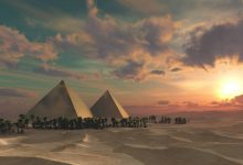 An artists rendering of the pyramids at Sunset. Shutterstock.