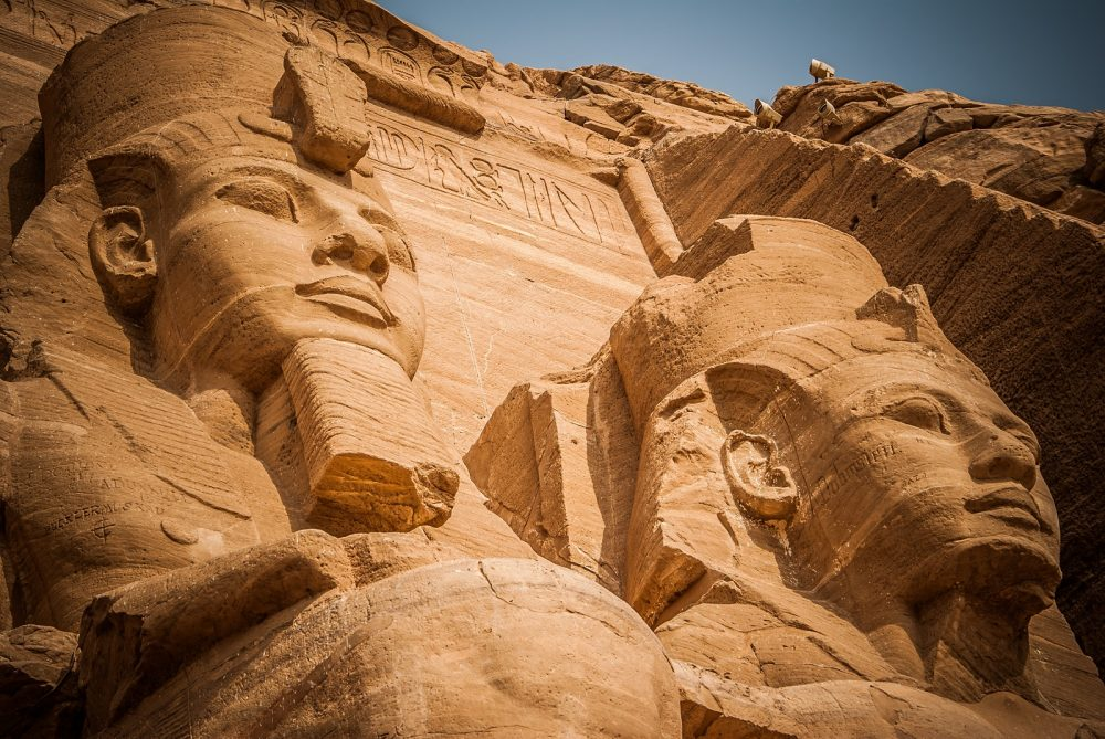 Stautes of Ramesses at Abu Simbel. Shutterstock.