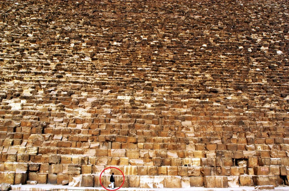 The Size of the stones used in the construction of the pyramids, compared to a man. Shutterstock.