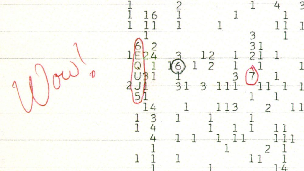 An image of the Wow! Signal. Image Credit: Public Domain.