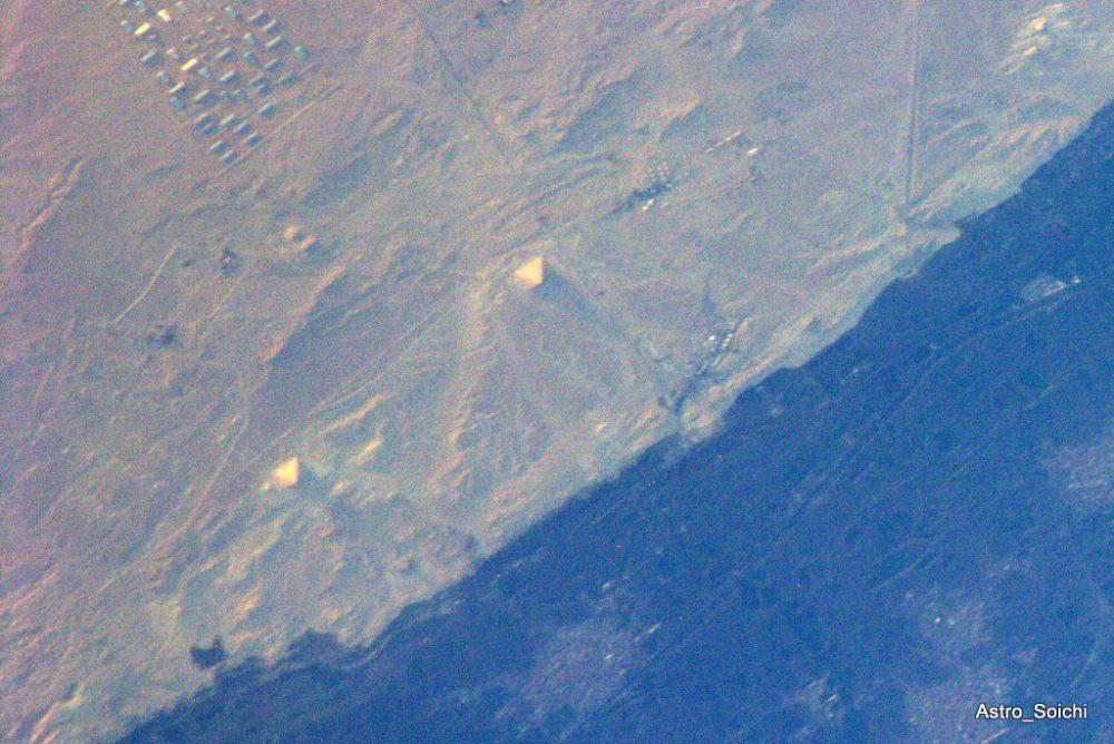 The Red Pyramid and the Bent Pyramid in Dahshur, Egypt. Credit: Soichi Noguchi/NASA/JAXA