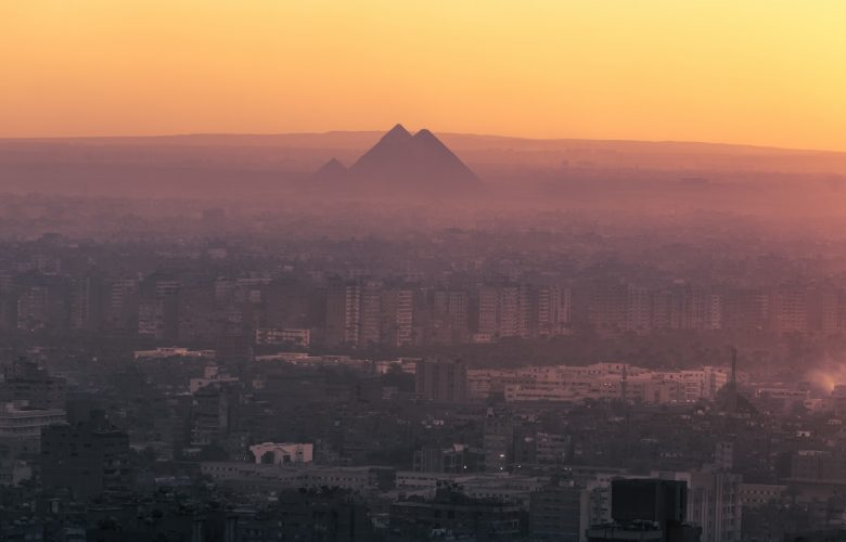 A distant view of the Pyramids at Giza from a different perspective. Shutterstock.