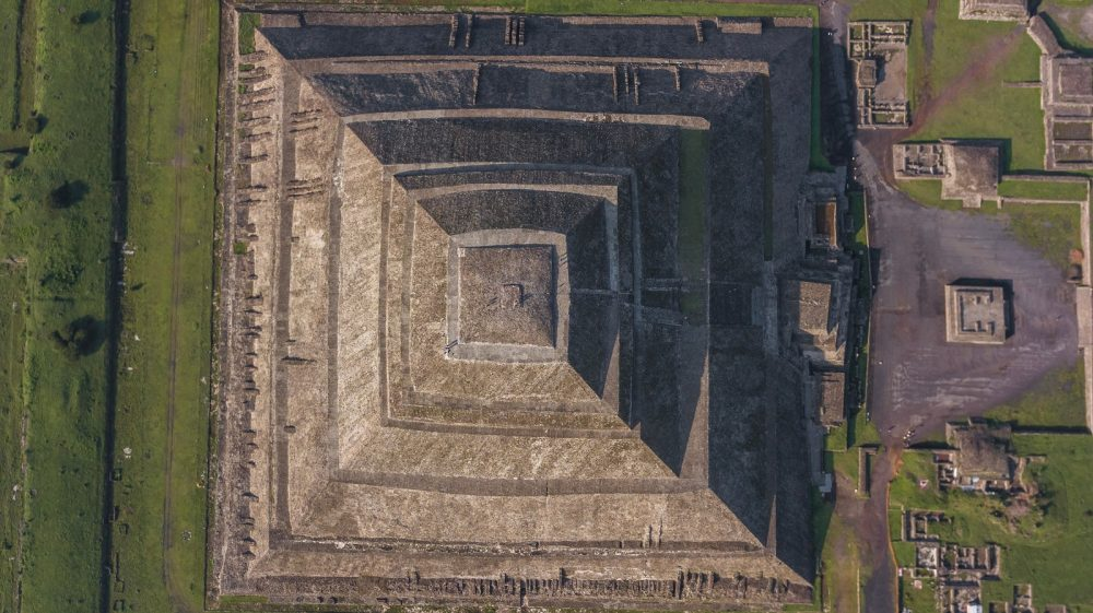 Aerial view (over head view) of the Pyramid of the Sun at Teotihuacan. Shutterstock.