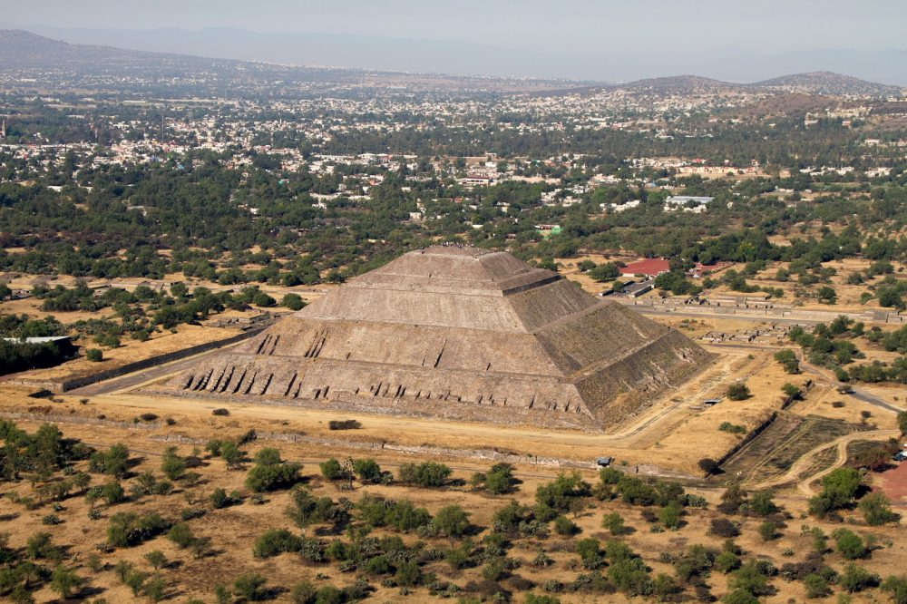 Aerial view of the Pyramid of the Sun at Teotihuacan. Shutterstock.