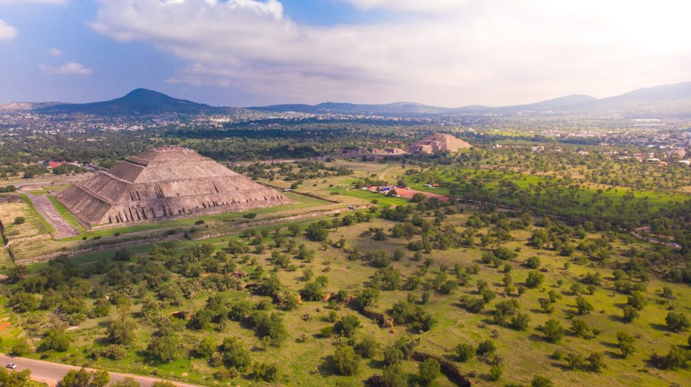 Aerial view of the ancient city of Teotihuacan. Shutterstock.