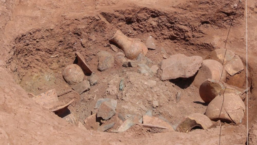 Seen here are the artifacts still half buried at Tiahuanaco. Image Credit: EFE/ Martin Alipaz.