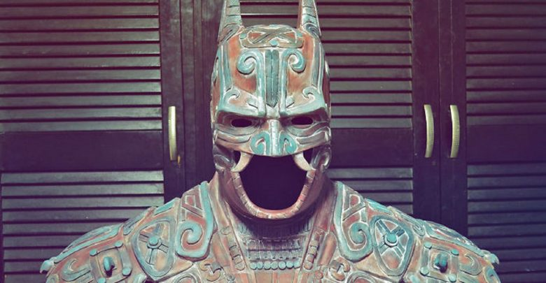 An artists rendering of what an ancient Mayan Bat god would look like representing the modern-day Batman. Image Credit: Christian Pacheco / Behance.