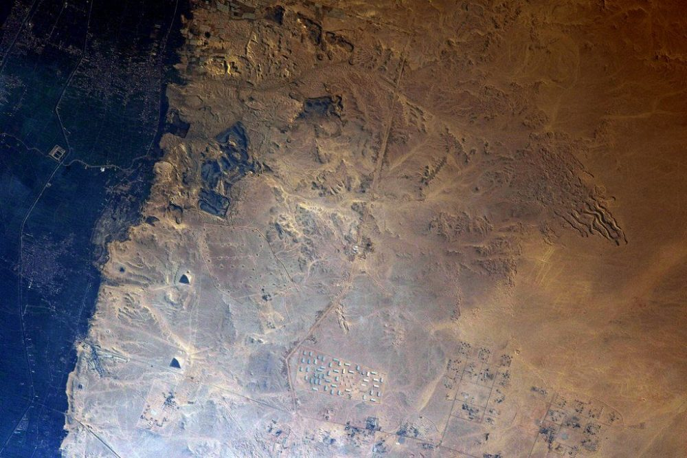 A view of the Pyramids at Dahshur from space. Image credit: Thomas Pesquet, ESA.