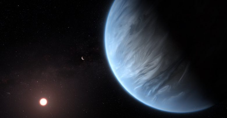Artists rendering of exoplanet K2-18b which may have water vapor in its atmosphere. Image Credit: ESA/Hubble, M. Kornmesser.