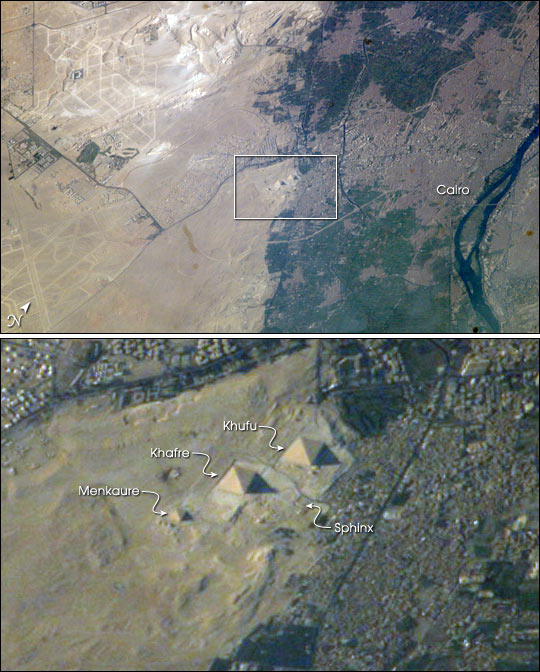 Satellite view of the Pyramids at Giza and Cairo. Image Credit: NASA / Earth Observatory.