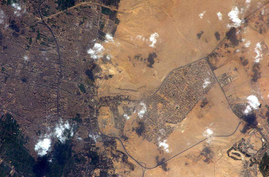 Another amazing image of the pyramids of Giza as seen from Space. Image Credit: ESA/Samantha Cristoforetti.