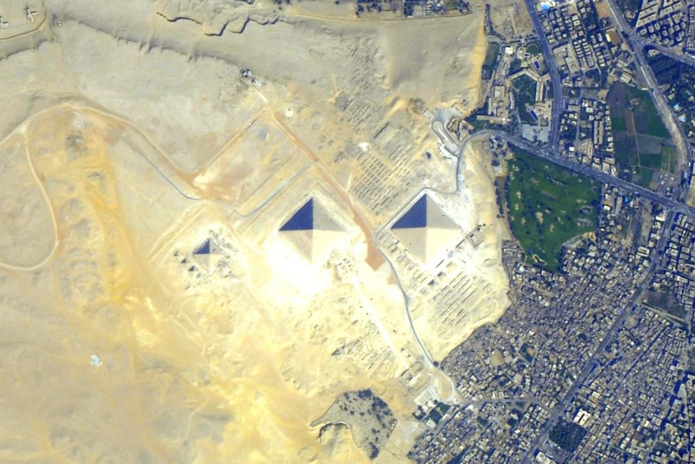 A satellite view of the Pyramids at Giza. Image Credit: NASA / Earth Observatory.
