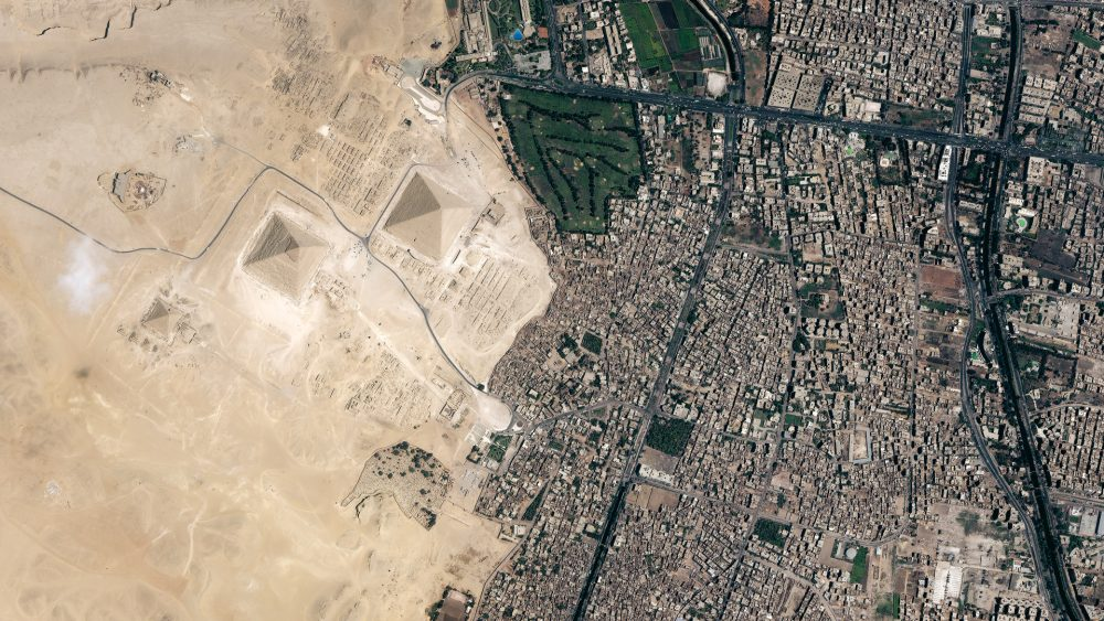 A view of the Pyramids at Giza as seen from the Ikonos Satellite.