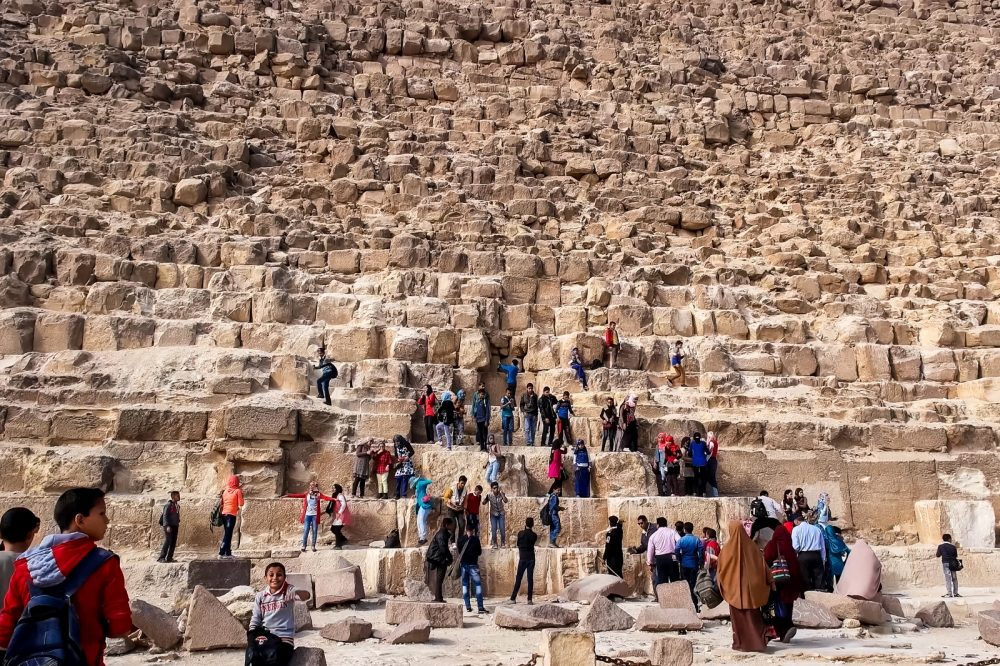 Archaeologists argue that at construction, the Great Pyramid of Giza was originally 280 Egyptian Royal cubits tall (146.5 meters (480.6 ft)). Shutterstock.