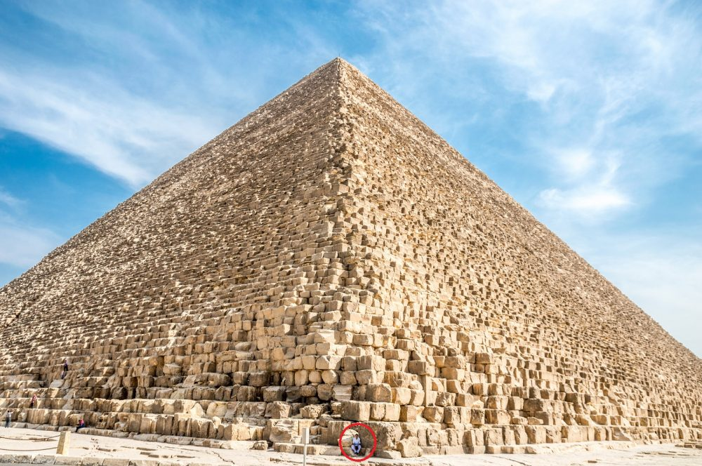 The Great Pyramid of Giza is believed to have been constructed with around 2.3 million blocks of stone. Shutterstock.