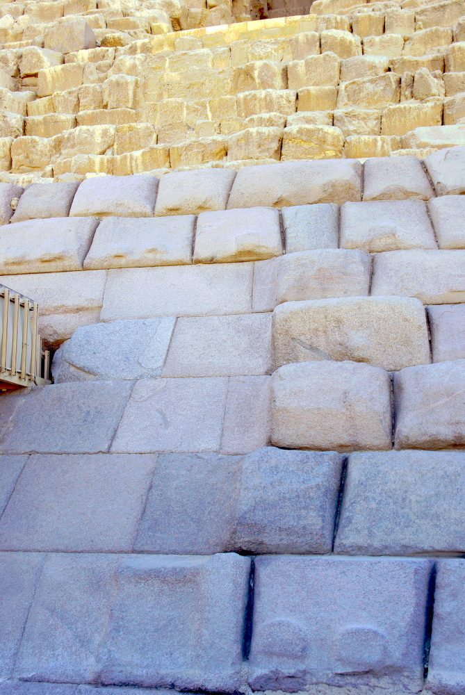 The base of the pyramid of Menkaure, next to the northern entrance of the pyramid. Image Credit: Wikimedia Commons / Public Domain.