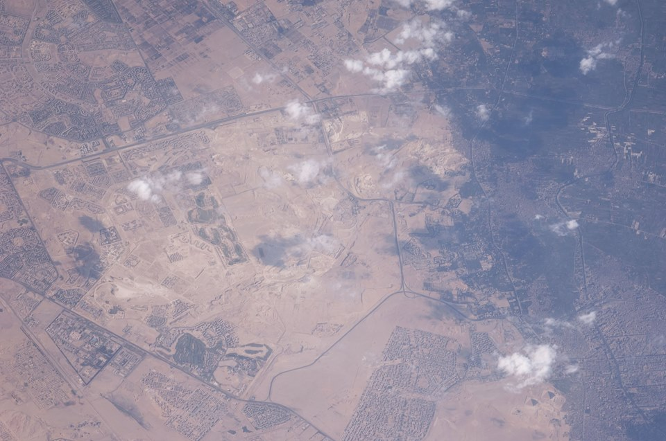 The Pyramids at Giza as seen from the ISS. Image Credit: Wikimedia Commons.