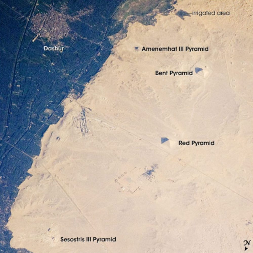 The Pyramids at Dahshur as seen from space. Image Credit: NASA.