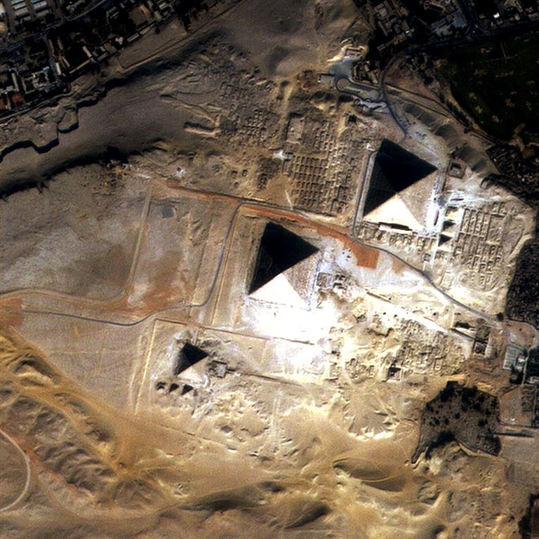 Egypt Pyramids captured by DubaiSat-1 of EIAST, Dubai. Image Credit: Wikimedia Commons.