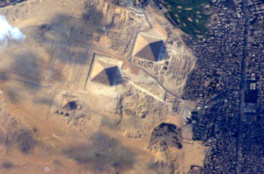 The Pyramids of Giza as seen from the International Space Station. Image Credit: Terry Virts / NASA.