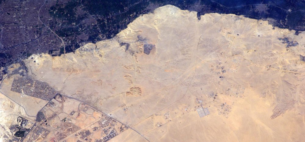 Amazing Images showing the Pyramids at Giza (left) and the pyramids at Dahshur (Right). Image Credit: ESA / NASA.