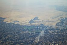 What the Pyramid Complex at Giza looks like from a distance, from above. Shutterstock.