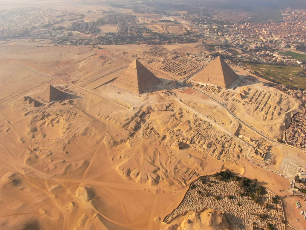 The Giza plateau and its three pyramids. Shutterstock.