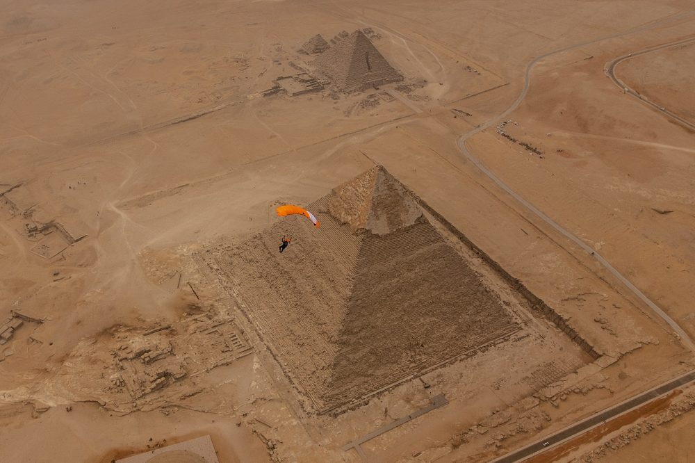 Flying above the pyramid of Khafre, often misinterpreted as the Great Pyramid of Giza. Shutterstock.