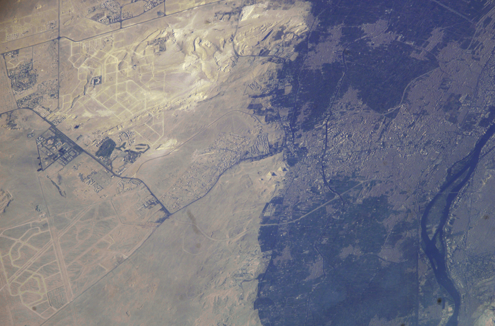 A view of Giza and its pyramids as seen from space. Image Credit: NASA.