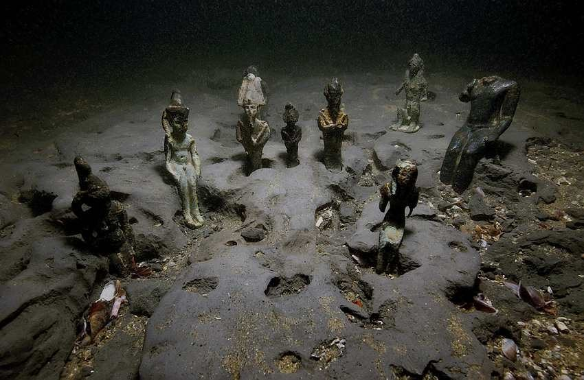 Some of the sunken statues on the seafloor belonging to the city of Thonis-Heracleion. Image Credit: Franck Goddio / Hilti Foundation / University of Oxford.