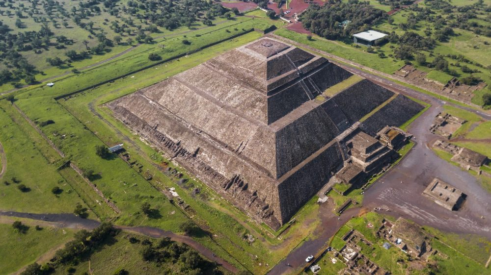Aerial view of Teotihuacan's most massive pyramid. Shutterstock.