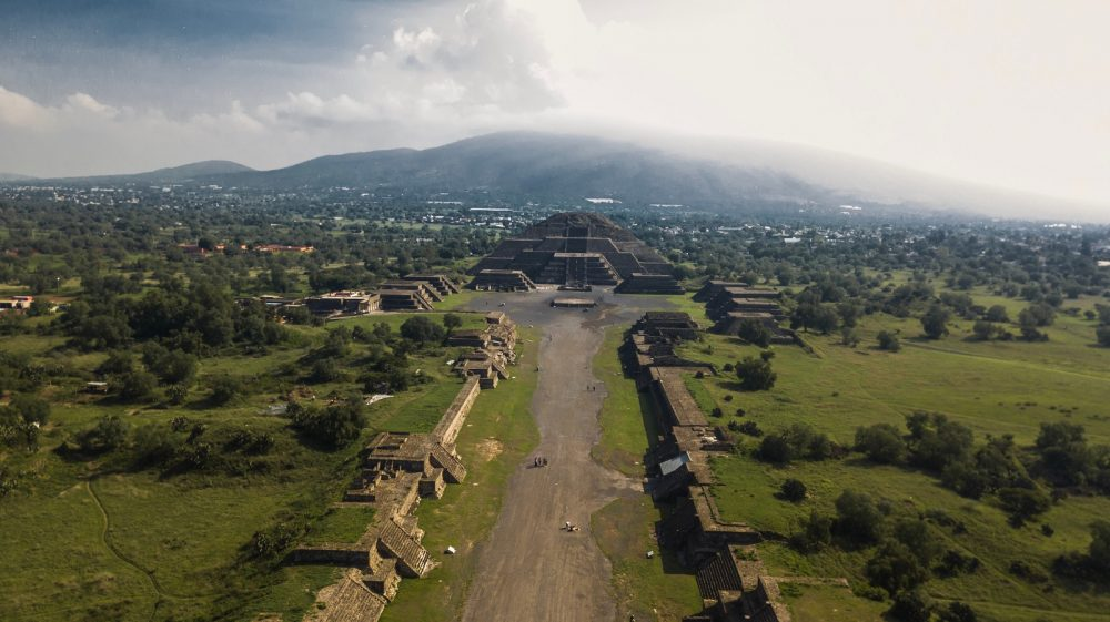 Aerial view of Teotihuacan's Avenue of the Dead and the pyramids. Shutterstock.