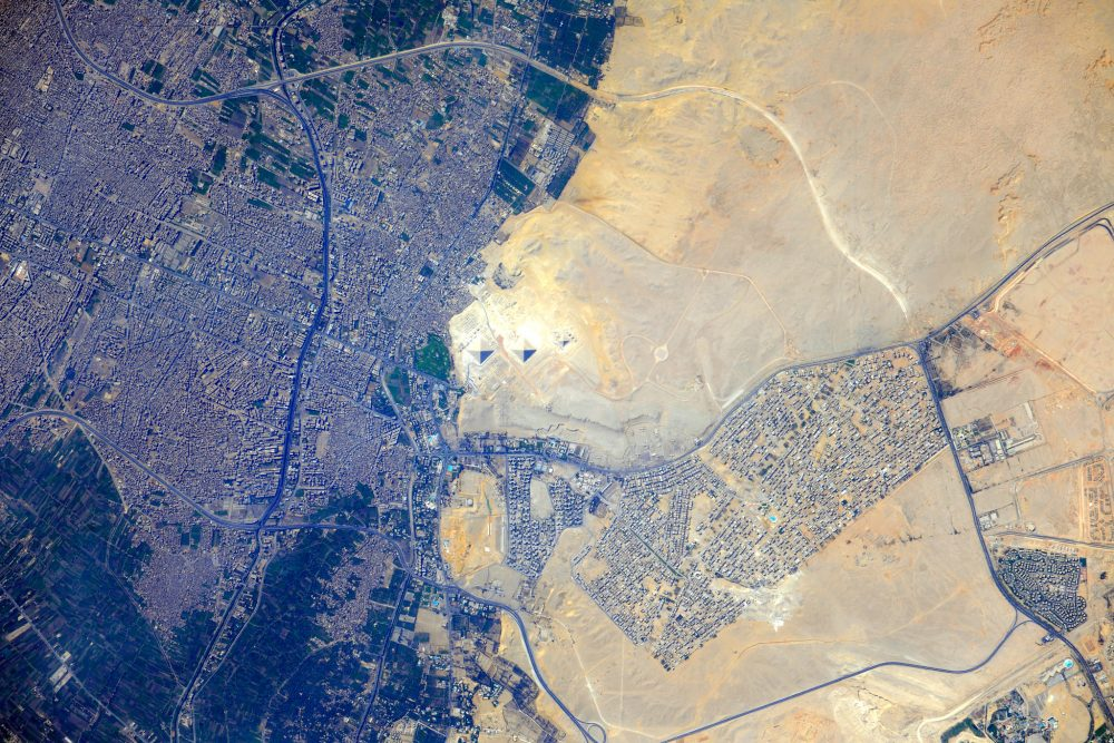 Stunning view of the Pyramids at Giza as seen from the International Space Station. Image Credit: NASA / Flickr.