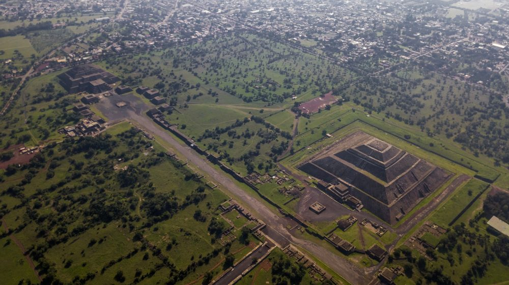 The ancient city of Teotihuacan and its pyramids. Shutterstock.