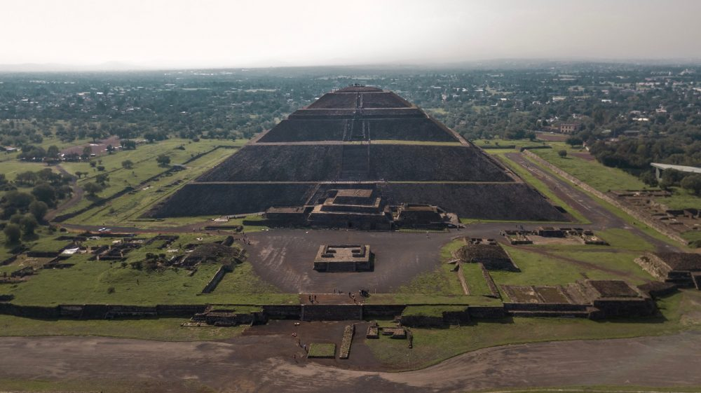 An aerial view of the pyramid at Teotihuacan. Shutterstock.