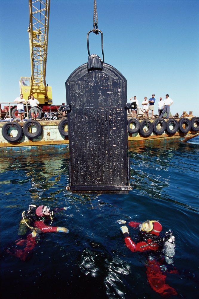 With a height of 1.90 meters, the stele of Thonis-Heracleion was erected by Pharaoh Nectanebo I (378-362 B.C.), and found in the old port city. Image Credit: Franck Goddio / Hilti Foundation / University of Oxford.