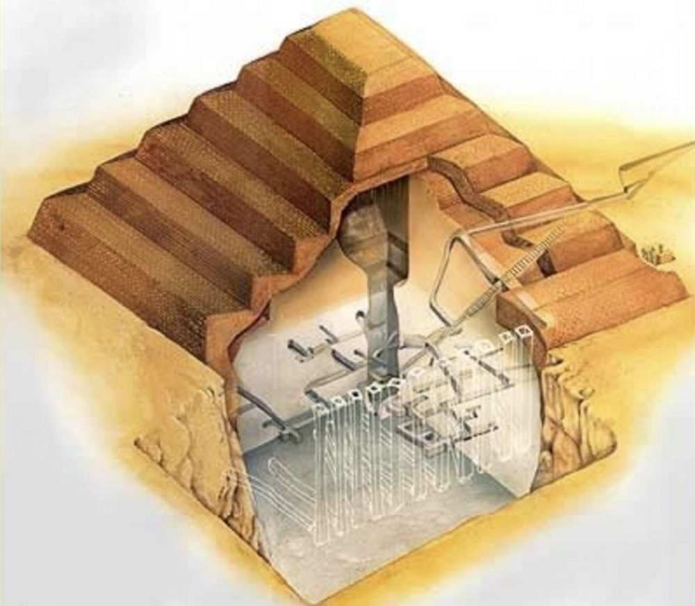Câmaras subterrâneas sob a pirâmide de degraus.  Crédito de imagem: Pinterest.