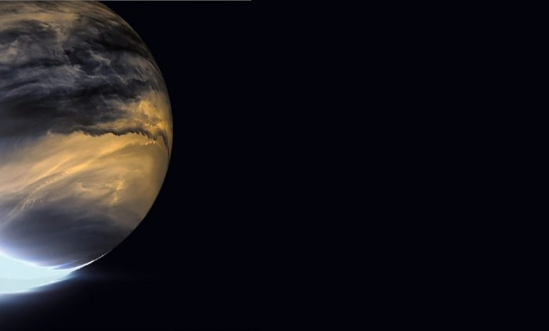 Venus in infrared. Akatsuki's IR2 camera relies on heat emanating from the lower atmosphere of Venus to image the nightside lower clouds. Image Credit: JAXA/ISAS/DARTS/Damia Bouic.