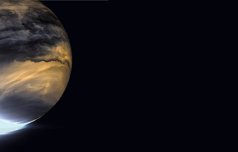 Venus in infrared. Akatsuki's IR2 camera relies on heat emanating from the lower atmosphere of Venus to image the nightside lower clouds. Image Credit: JAXA/ISAS/DARTS/Damia Bouic.
