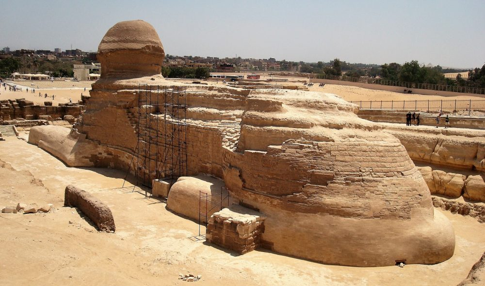 Rear view of the great Sphinx of Giza showing possible entrances. Shutterstock.