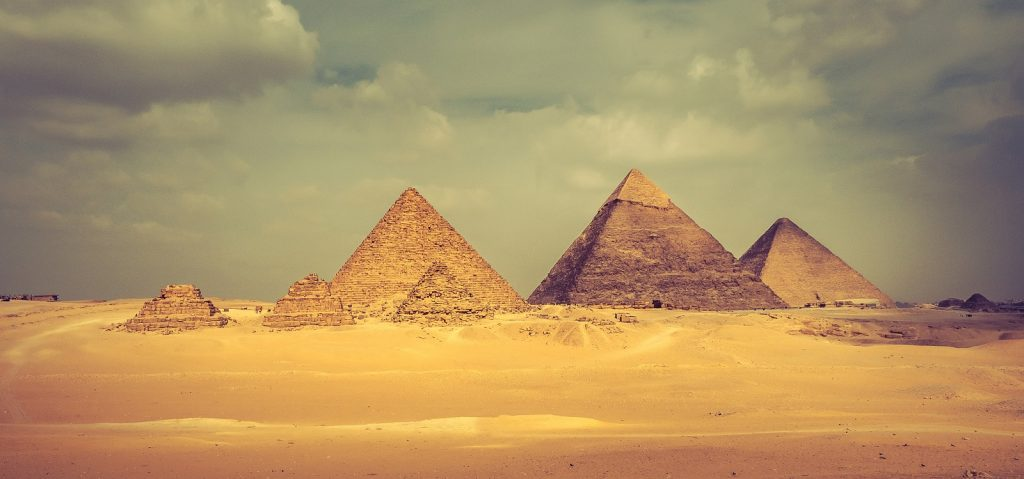A stunning view of the Pyramids at the Giza plateau. Shutterstock.