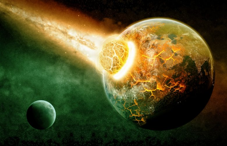 An Artists rendering of a cosmic collision between two planets. Shutterstock.