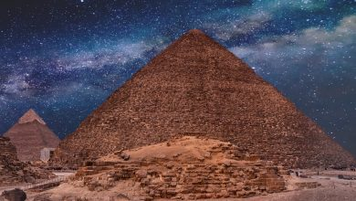 Ancient Pyramids under the night sky. Shutterstock.