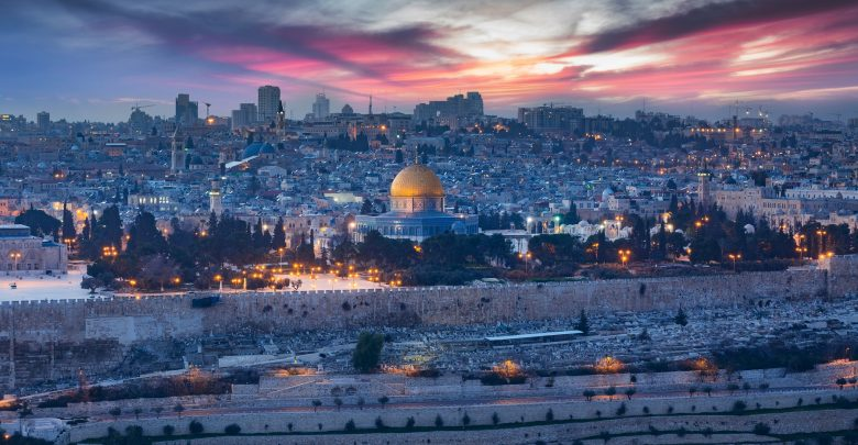 A photograph of Jerusalem at sunset. Shutterstock.