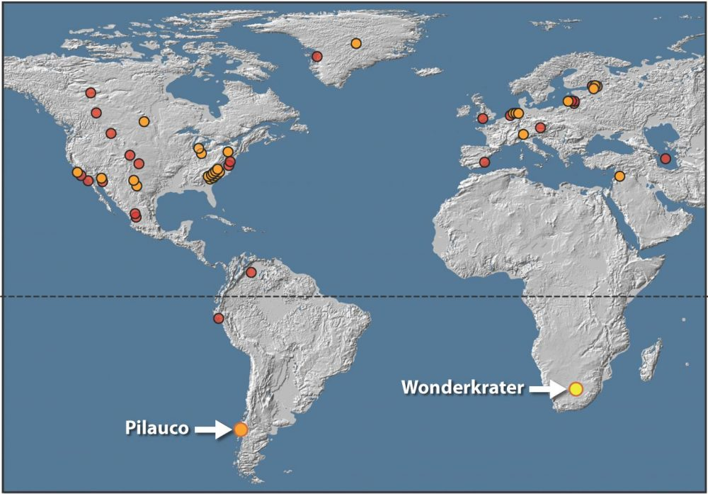 Map with African evidence supporting massive asteroid impact. Image Credit: Francis Thackeray/Wits University.