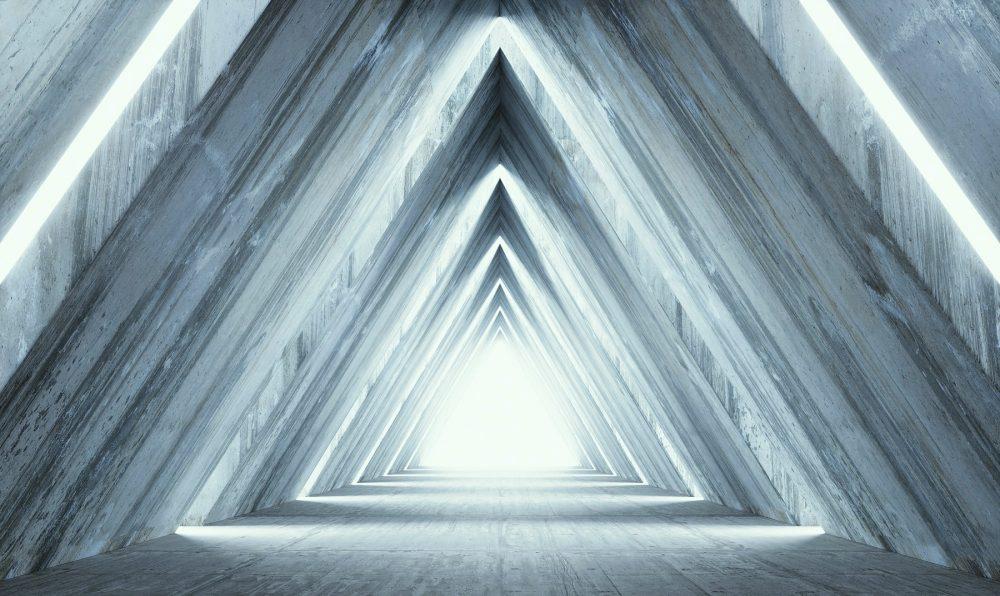 An artists illustration of pyramid-shaped light. Shutterstock.