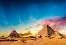 A view of the pyramids at Giza. Shutterstock.