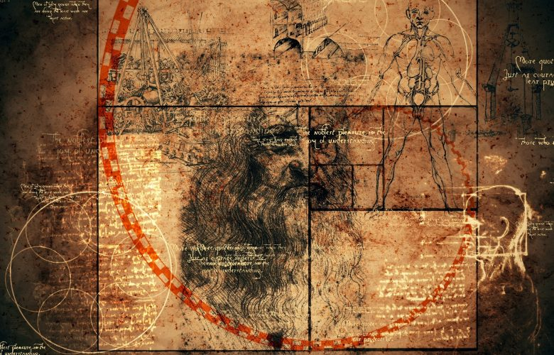 Artists rendering including the Golden Ratio and some of Da Vinci's drawings. Shutterstock.